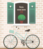 An open window with green shutters and bicycle — Stock Vector