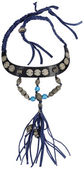 Vintage necklace. Silver with blue Beads — Stock Photo