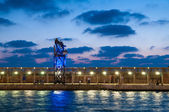 Night view of the TLV port — Stock Photo