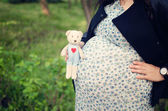 Woman expecting baby holding a cute teddy bear. — Stock Photo
