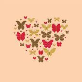 Butterflies in the heart — Stock Vector