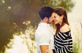 Happy romantic sensual couple in love together on summer vacatio — Stock Photo