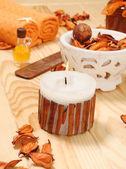SPA cinnamon candle — Stock Photo