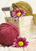 Wool colorful clews for knitting — Stok fotoğraf