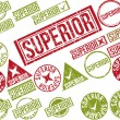 "Collection of 22 red grunge rubber stamps with text ""SUPERIOR"" — Stock Vector #50032533"