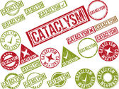 "Collection of 22 red grunge rubber stamps with text ""CATACLYSM""  — Stock Vector"