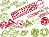 "Collection of 22 red grunge rubber stamps with text ""COLLECTION"" — Stock Vector"