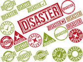 "Collection of 22 red grunge rubber stamps with text ""DISASTER"" — Stock Vector"