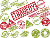 """Collection of 22 red grunge rubber stamps with text """"TRAGEDY"""" — Stock Vector"""