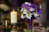 Bouquet, wine and candle — Stockfoto