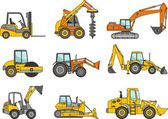 Set of heavy construction machines. Vector illustration — Stock Vector