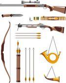 Set of hunting weapons — Stock Vector