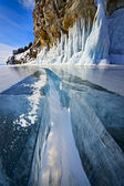 Wide crack through thick ice — Foto Stock