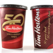 Tim Hortons cups depicting celebrations of fifty years of existence — Stock Photo #50097219
