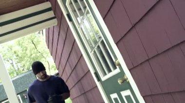 Burglar Trying Door — Stockvideo
