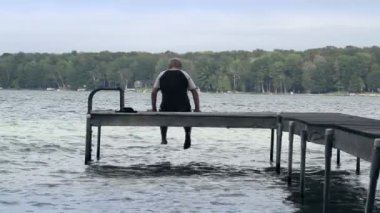 Boy on Dock — Stock Video