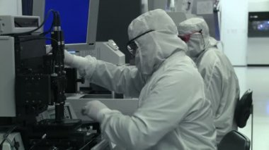Clean Lab Techs Working — Stockvideo