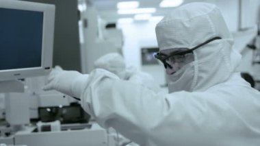Clean Room Techs — Stock Video