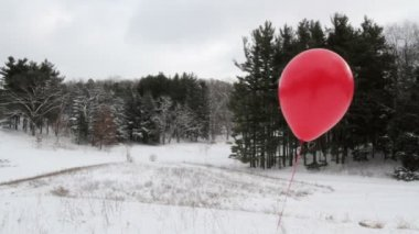 Red Balloon Slide — Video Stock