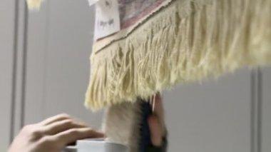 Combing Rug Fringe — Stock Video