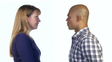Woman Persuading Man — Stok video