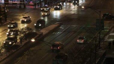 Winter Intersection Night — Stock Video