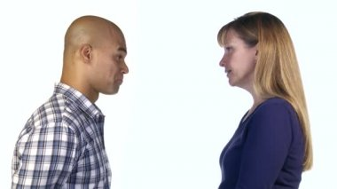 Man Persuading Woman — Stock Video