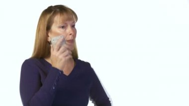 Woman with phone — Stock Video