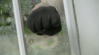 Fist Smashes Window — 图库视频影像