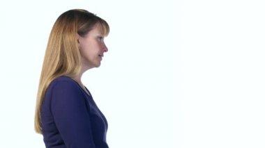 Woman Disagrees Profile — Stock Video