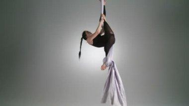 Aerial Yoga Pose — Stock Video