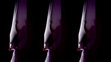 Aerial Yoga Triplets — Stock Video