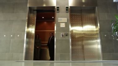 Exiting Elevator — Stock Video