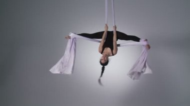 Aerial Yoga Inverted Splits — Stock Video