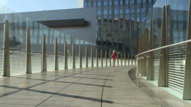 Woman on Bridge — Stock Video