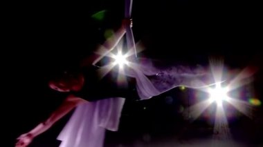 Dark Aerial Yoga — Stock Video