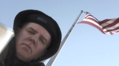 Beggar and Flag — Stock Video