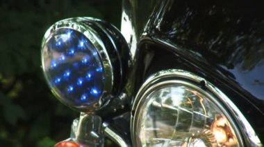 Police Bike Blue Light — Stock Video