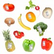 Fruits and Vegetables with Nutrition Labels — Stock Photo #49932449