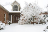 Brick House in Snow — Stock Photo