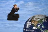 魔法のスーツケースの世界ツアー — ストック写真