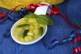 Spoon of Southwestern Corn and Potato Soup — Stock Photo
