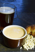 Beer Cheese Soup with Popover — Stock Photo