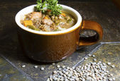 Lentil, Escarole and Italian Sausage Soup — Stock Photo