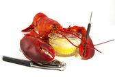 Whole Lobster with Butter — Stock Photo