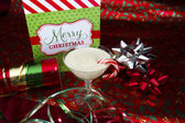 Eggnog with Wrapping Paper — Stock Photo