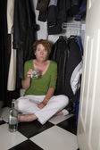 Closet Drinker Surprised — Stock Photo