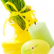 Easter egg, candle and green grass — Stock Photo #51587369