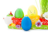 Easter eggs and grass — Stock Photo