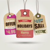 Venta de navidad etiquetas — Vector de stock